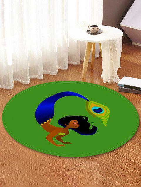 Woman Feather Decorative Round Floor Rug - JUNGLE GREEN 80CM (ROUND)