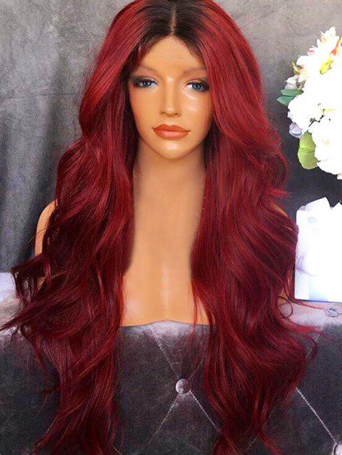 Center Parting Ombre Wavy Long Party Synthetic Wig - RED WINE