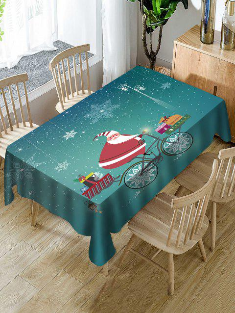 Christmas Santa Claus Gifts Print Waterproof Tablecloth - MACAW BLUE GREEN W60 X L84 INCH