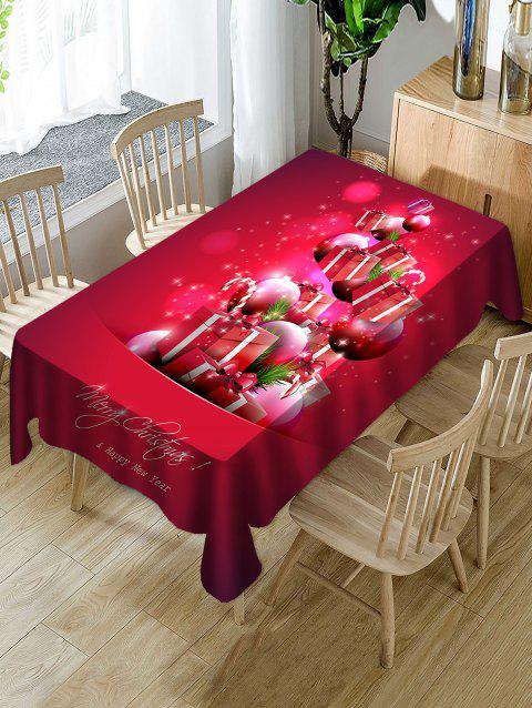 Christmas Gifts Ball Print Waterproof Tablecloth - multicolor W60 X L84 INCH