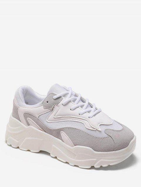 Color Block Breathable Chunky Walking Sneakers - WHITE EU 38