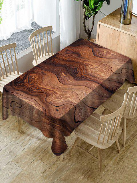 Wood Grain Print Waterproof Tablecloth - multicolor W60 X L84 INCH