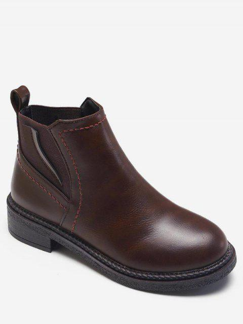 Low Heel Short Chelsea Boots - BROWN EU 35