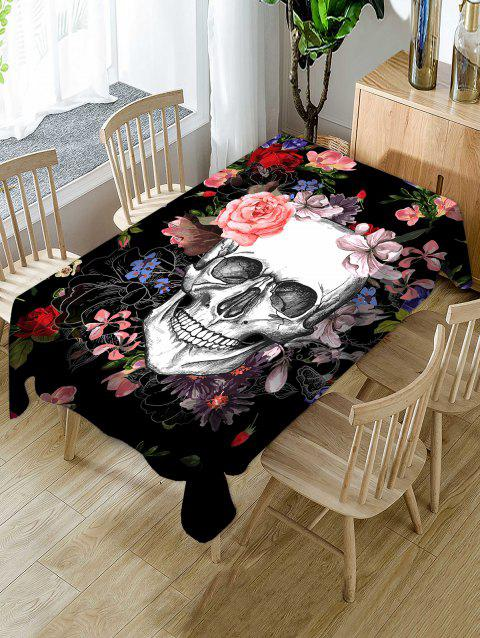 Halloween Flowers Skull Print Waterproof Tablecloth - multicolor W54 X L72 INCH