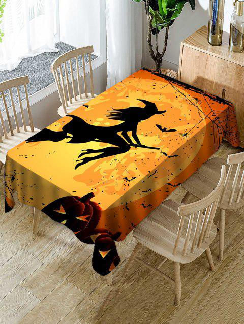 Halloween Moon Witch Print Waterproof Tablecloth - ORANGE W54 X L72 INCH