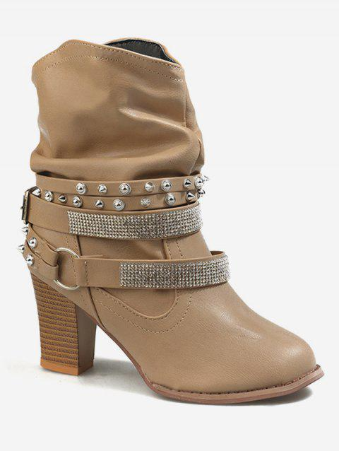 Block Heel Rhinestone Ankle Slouch Boots - APRICOT EU 35
