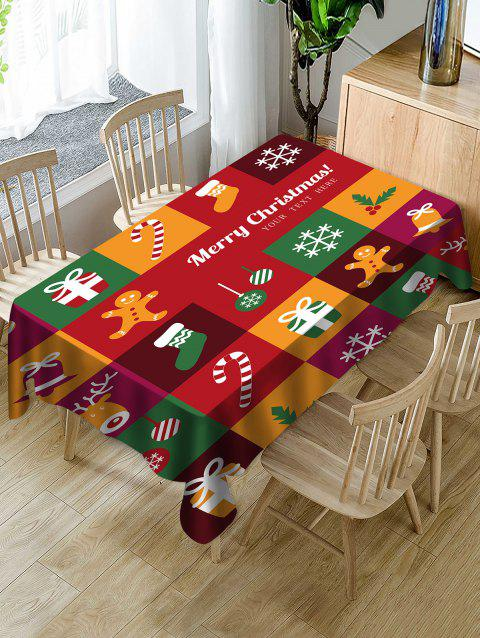 Christmas Patchwork Print Waterproof Tablecloth - multicolor W54 X L54 INCH