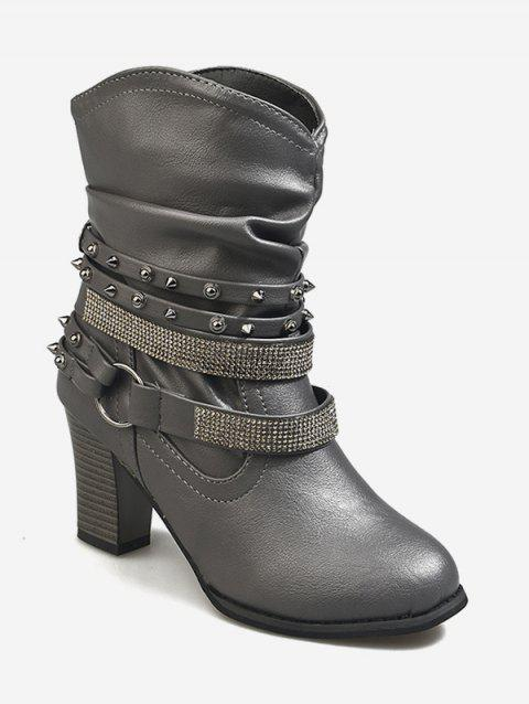 Block Heel Rhinestone Ankle Slouch Boots - GRAY EU 35