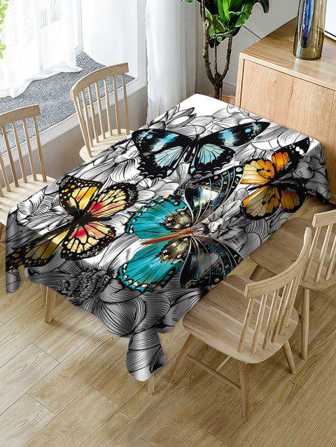 Butterfly and Flower Print Waterproof Tablecloth - multicolor W54 X L72 INCH
