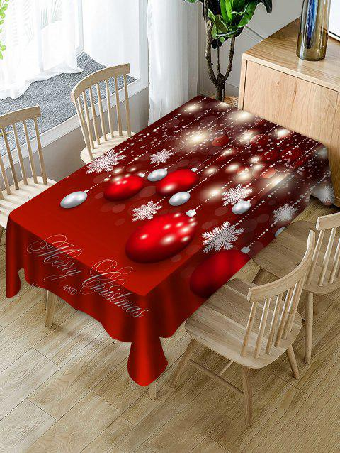 Christmas Ball Snowflake Print Waterproof Tablecloth - RED W60 X L84 INCH