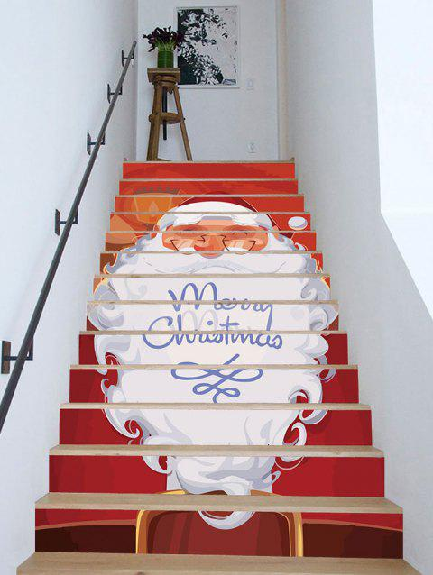 Merry Christmas Santa Claus Print Stair Stickers - multicolor