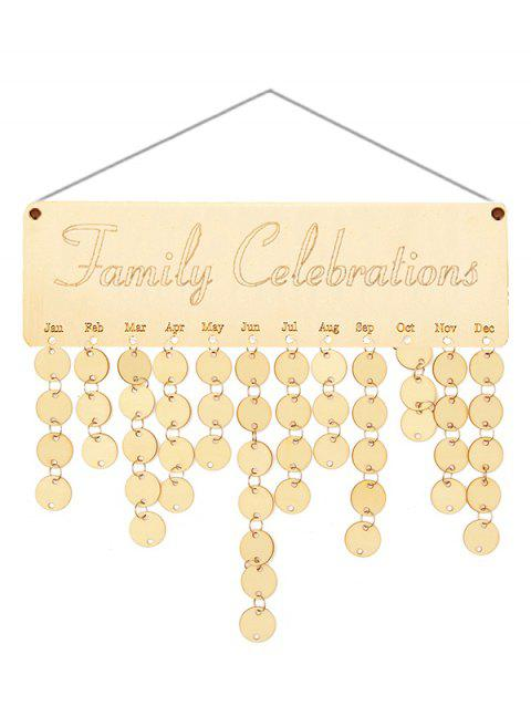 Wooden Family Celebration Calendar Board - BURLYWOOD ROUND