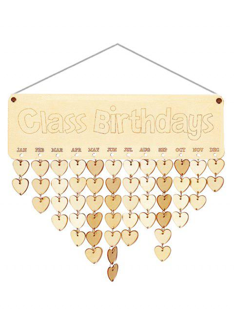 Wooden Class Birthdays Calendar Board - BURLYWOOD HEART