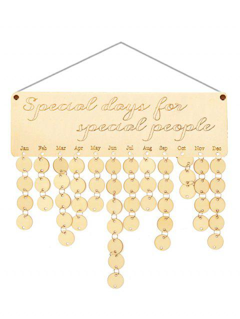 Wooden Special People Calendar Board - BURLYWOOD ROUND