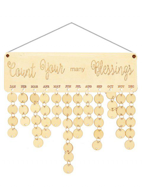 Wooden Count Your Many Blessings Calendar Board - BURLYWOOD ROUND