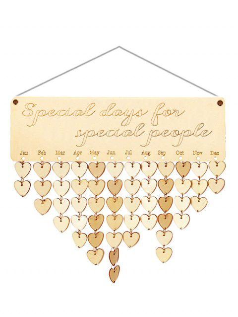 Wooden Special People Calendar Board - BURLYWOOD HEART