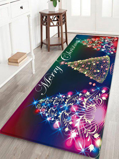 Christmas Tree Pattern Flannel Floor Mat - MIDNIGHT BLUE W24 X L71 INCH