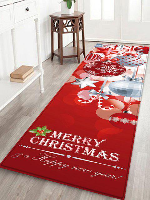 Christmas Snowflake Print Non-slip Flannel Floor Mat - RED W16 X L47 INCH