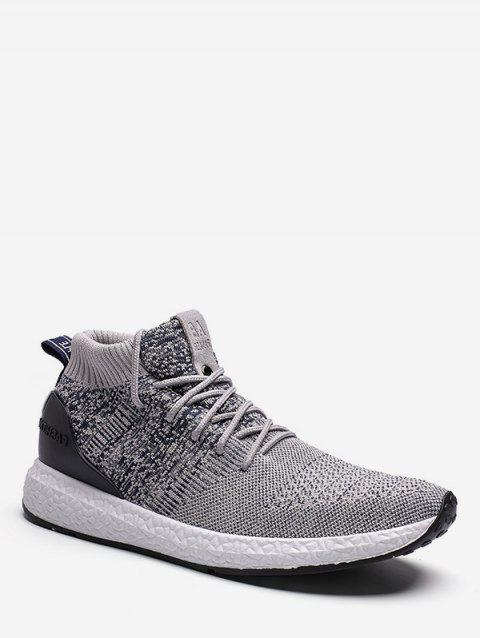 Lace Up Canvas Athletic Sneakers - GRAY EU 42