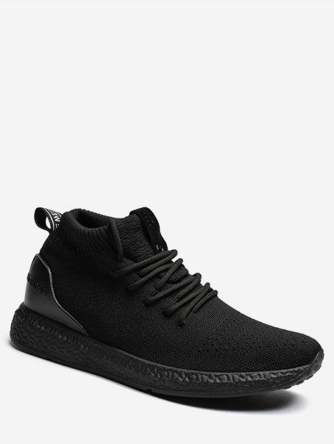 Lace Up Canvas Athletic Sneakers - BLACK EU 41