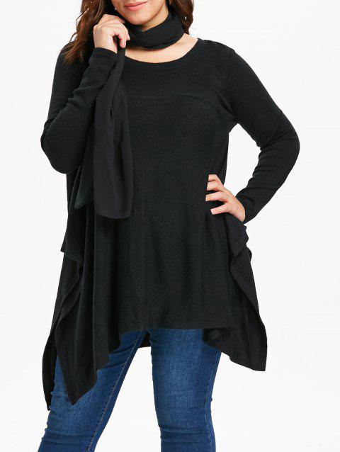 Long Sleeve Plus Size Asymmetrical Sweater with Scarf - BLACK L