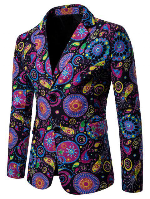 Ethnic Style Print Two Buttons Pockets Blazer - BLUE XL