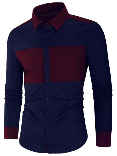 Long Sleeve Contrast Color Casual Shirt - CADETBLUE M