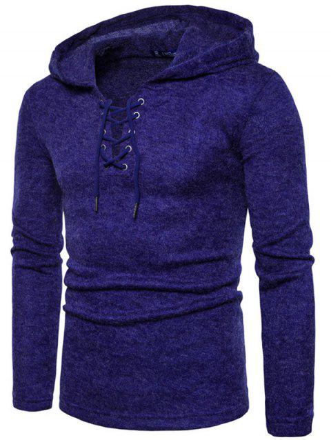 Long Sleeve Lace Up Hooded Sweater - BLUE L