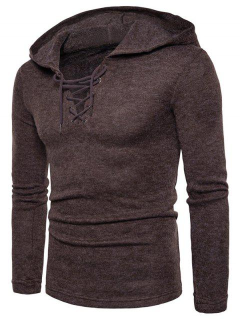 Long Sleeve Lace Up Hooded Sweater - COFFEE XL