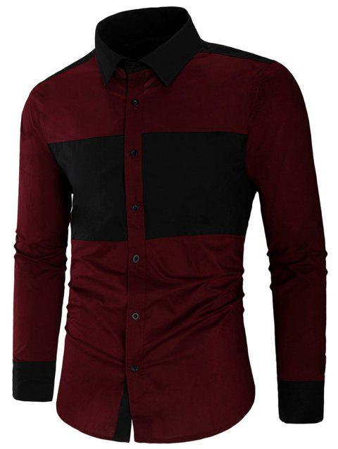 Long Sleeve Contrast Color Casual Shirt - RED WINE 2XL