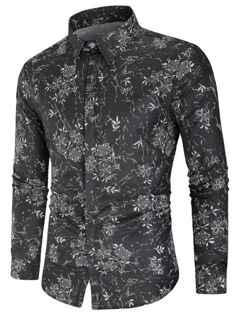 Flower Print Long Sleeve Shirt - multicolor L