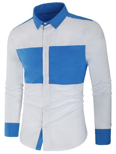 Long Sleeve Contrast Color Casual Shirt - WHITE M