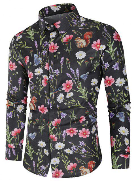 Flower and Butterfly Print Casual Shirt - multicolor 2XL
