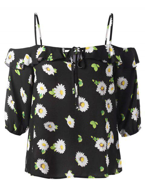 Plus Size Cut Out Print Blouse - BLACK 5X