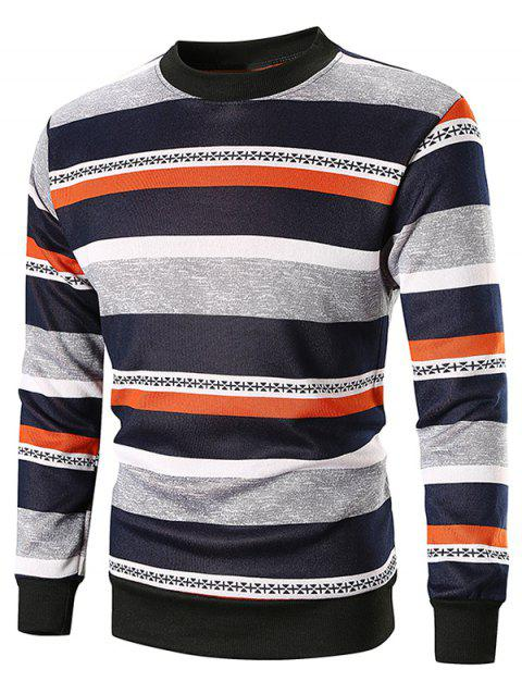 Wide Striped Pullover Sweatshirt - ORANGE L