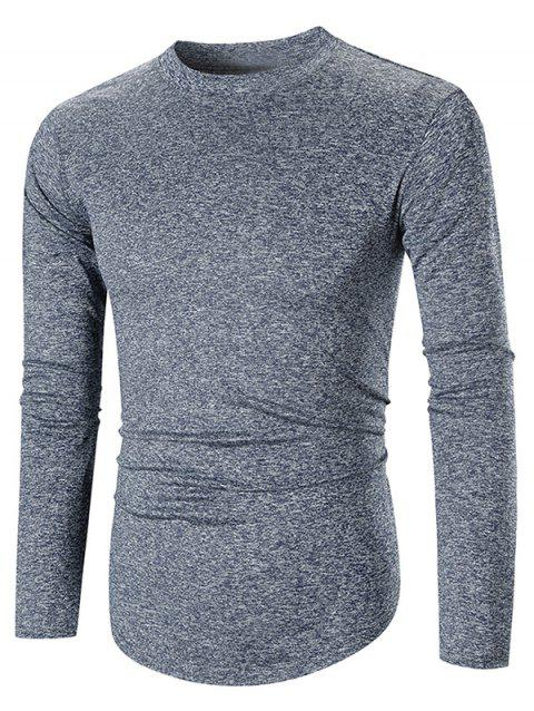Long Sleeve Space Dye Casual T-shirt - BLUE L