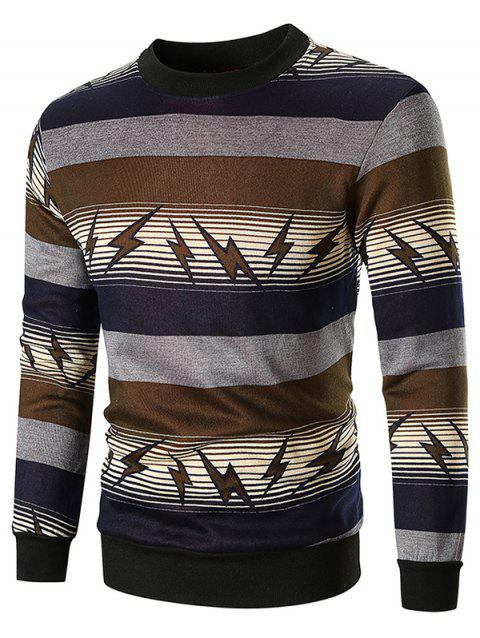 Lightning and Striped Print Sweatshirt - BROWN 2XL