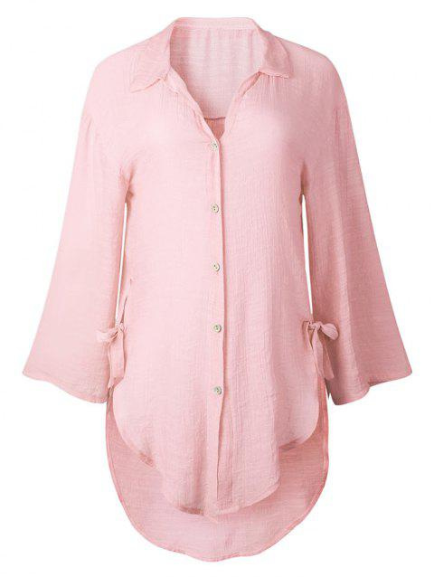 High Low Button Up Tunic Shirt - PINK M