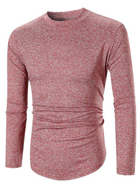 Long Sleeve Space Dye Casual T-shirt - RED WINE XL