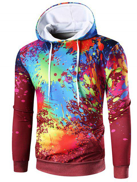 Kangaroo Pocket Paint Splatter Hoodie - RED WINE XL