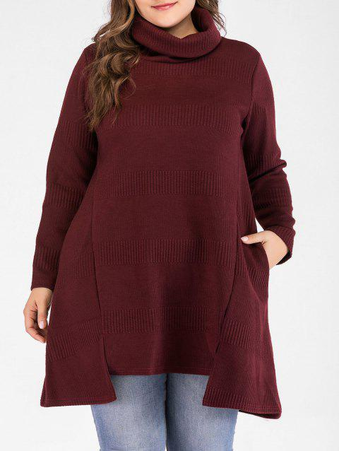 Plus Size Ribbed Detail Turtleneck Sweater - RED WINE 2X