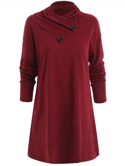 Shawl Collar Tunic Knit Top - RED WINE S
