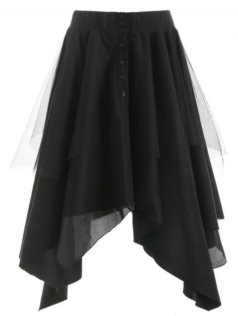 Mesh Panel Faux Suede Long Handkerchief Skirt - BLACK S
