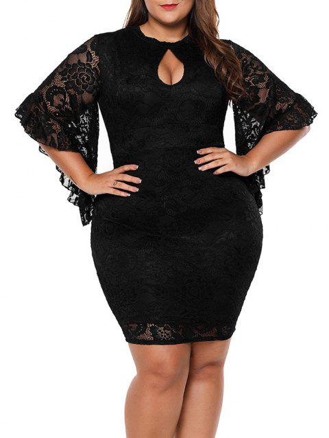 Flare Sleeve Plus Size Lace Mini Bodycon Dress - BLACK 1X
