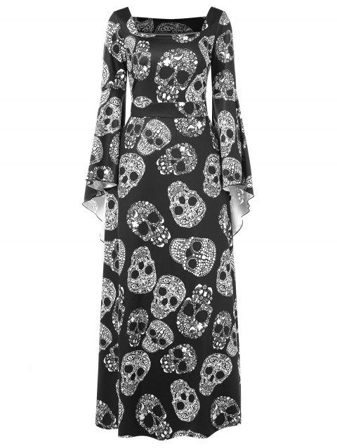 Halloween Skulls Print Flare Sleeve Maxi Dress - BLACK M