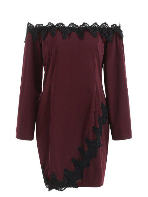 Lace Applique Long Sleeve Plus Size Bodycon Dress - RED WINE 4X
