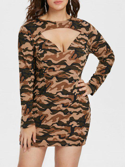 Plus Size Camo Print Long Sleeve Dress - DIGITAL DESERT CAMOUFLAGE L