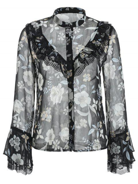 Ruffled Trim Flare Sleeve Chiffon Floral Blouse - BLACK M