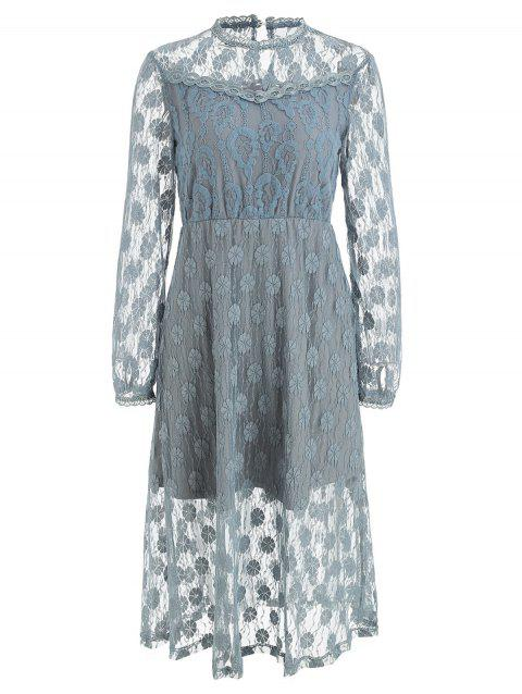 High Waist Floral Midi Lace Dress - LIGHT GRAY S