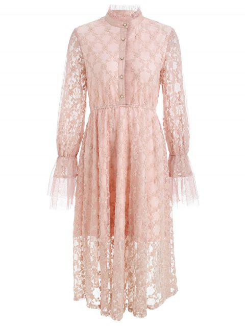 Flare Sleeve High Neck Long Lace Dress - PINK L